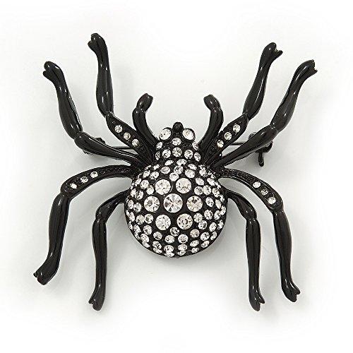 "Broche ""Araignée"" grande cristal Swarovski en métal noir- longueur 6cm"