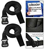 yakima world straps - 333 World - Strap 1 Inch Wide with Plastic Quick Release Buckle for Lashing Strap, Backpack, Camping, Sleeping Bag, Air Mattress, Luggage Straps, Automotive. Set of 2.