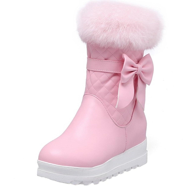 TAOFFEN Women Winter Half Zipper Snow Boots Flat Synthetic Fur Warm Boots