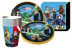 LEGO STAR WARS Vajilla - Para 8 invitados - platos, vasos, servilletas - Cars de Disney