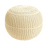 Brylanehome Hand-Knitted Ottoman Pouf (Cream,0)