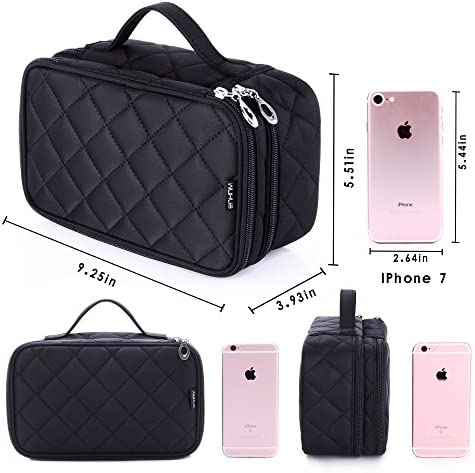 Portable Makeup Bag, WuHua Double Layer Cosmetic/Toiletry Brush Bag for Women, with Mirror Travel/Train Kit Organizer, Professional Makeup Pouch Purse for Travel Home