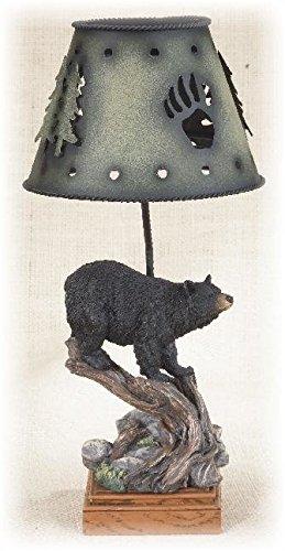 13 Inch Black Bear on Wood-Like Log Metal Candle Lamp Holder