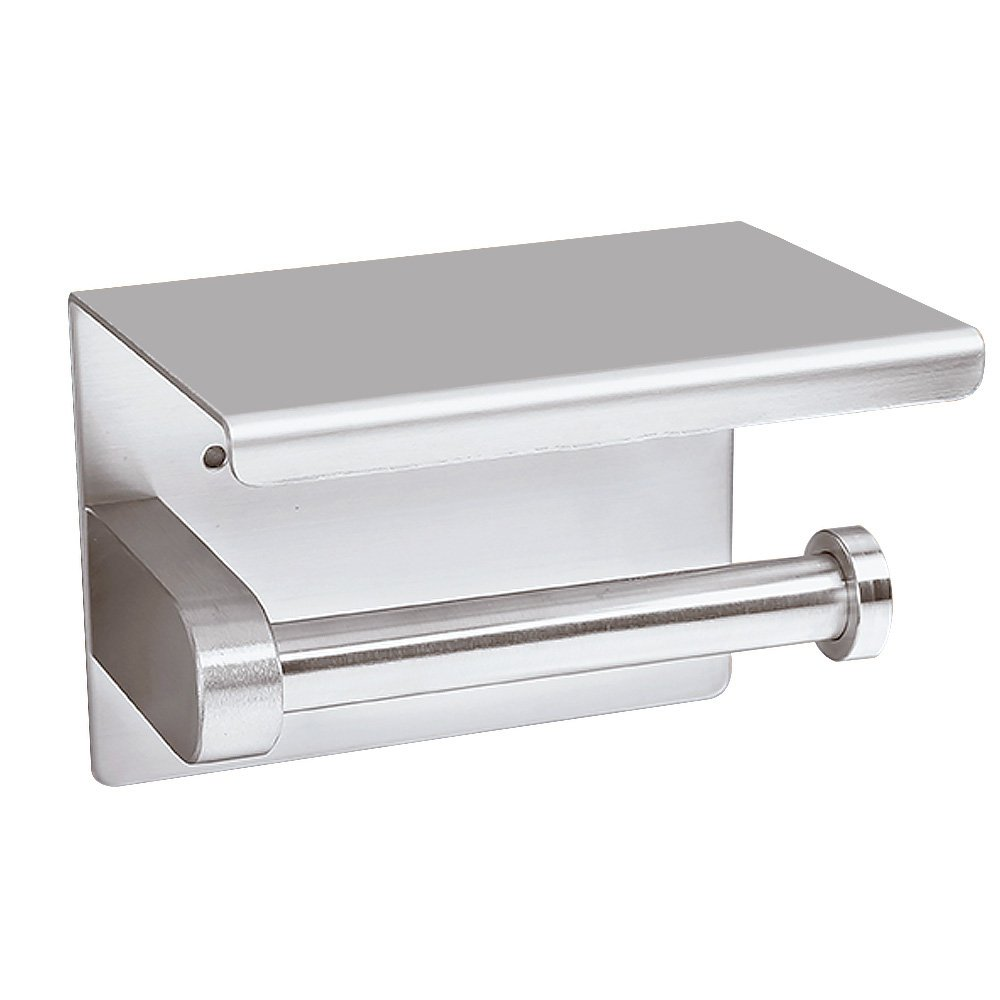 MXTECHNIC Wall Mount Toilet Paper Holder, SUS304 Stainless Steel Bathroom Tissue Holder with Mobile Phone Storage Shelf,Screws Wall Mount or Self Adhesive,Brushed Stainless Steel (Sliver)