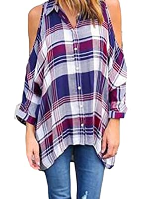 tescous Women's Cold Shoulder Short Sleeve Plaid Button Down Shirt