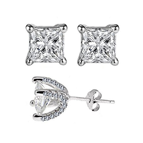 Wow Designer Inspired Sterling Silver 925 Earring 3 Carat . Simulated Princess Cut Stones - Stone Designer Earrings 3
