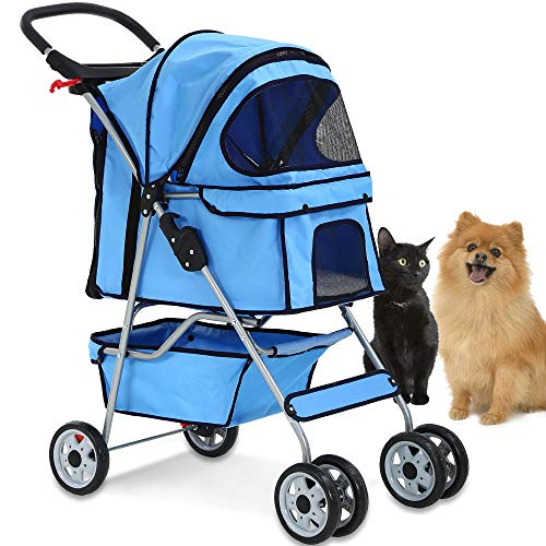 Airline Approved Pet Carrier With Wheels – 4 Wheels Pet Stroller Cat Dog Cage Stroller Travel Folding Carrier with Cup Holders and Removable Liner for Small-Medium Dog, Cat (Blue)