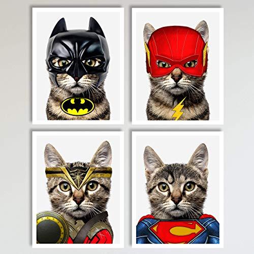 (Justice League Cats 4 Piece Set, Batman, Flash, Superman, Wonder Woman Prints, Neutral Wall Decor, Home and Kids Bedroom Superhero Decor Wall Art Posters 4 Piece Set, 11 x 14 inches each Unframed)