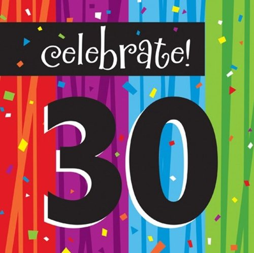 30th Birthday Beverage Napkins - Creative Converting 16-Count Paper Lunch Napkins, Celebrate 30, Milestone Celebrations - 665683