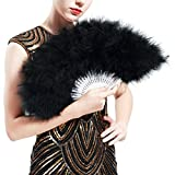 BABEYOND Roaring 20s Vintage Style Folding Handheld Marabou Feather Fan Flapper Accessories (Black)