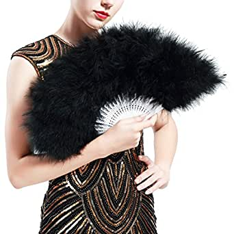 BABEYOND Roaring 20s Vintage Style Folding Handheld Flapper Marabou Feather Hand Fan for Costume Halloween Dancing Party Tea Party (Black)