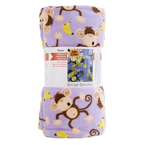 Darice Monkey Purple Print Ultra Plush Fleece Fabric Roll (Monkey Fleece Fabric)
