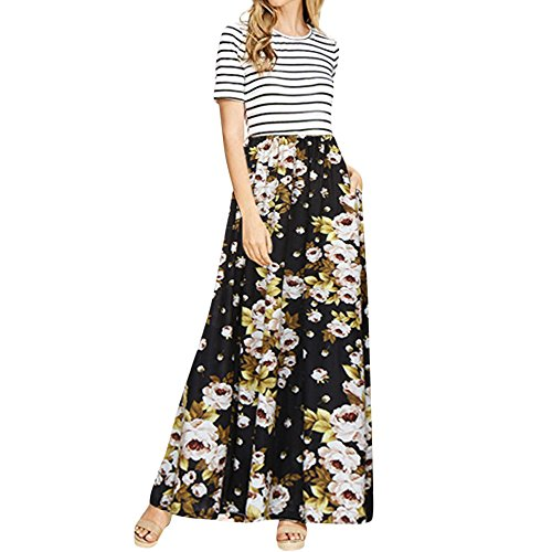 ♥ HebeTop ♥ Womens Summer Sleeveless Casual Floral Stripe Patchwork Maxi Dress with Pockets Black ()