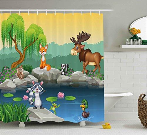 Cartoon Moose - Ambesonne Cartoon Decor Shower Curtain, Funny Mascots Animals by the Lake Moose Fox Squirrel Raccoon Kids Nursery Theme, Fabric Bathroom Decor Set with Hooks, 70 Inches, Multi