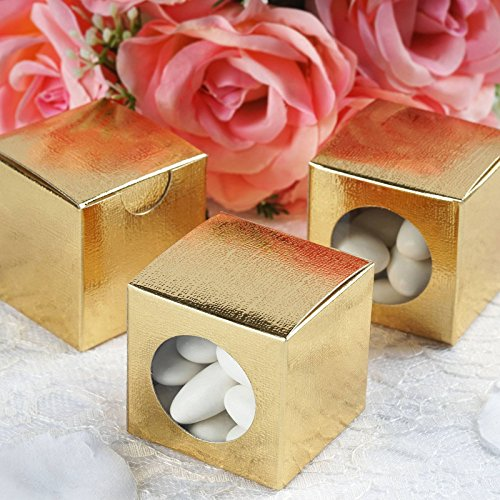 - Efavormart 2x2 Gold Ballotin Box for Candy Treat Gift Wrap Box Party Favor Boxes for Bridal Shower Anniverary Wedding -100 Boxes