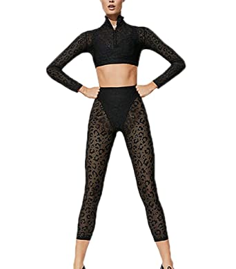 2 Unids/Set Mujeres Sexy Mesh Perspectiva Tops + Yoga ...