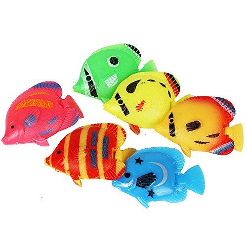 (Urijk Artificial Fish Aquarium Decor 10 Pcs, Lifelike Plastic Artificial Moving Floating Fish Ornament with Swinging Tail for Aquarium Fish Tank Decoration)