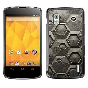 GIFT CHOICE / Teléfono Estuche protector Duro Cáscara Funda Cubierta Caso / Hard Case for LG Nexus 4 E960 // Cool Gray Geometric CNC Texture Pattern //