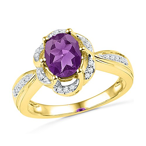 (Jewel Tie Size - 5-10k Yellow Gold Round Purple Simulated Amethyst And White Diamond Fashion Band OR Engagement Ring Prong Set Solitaire Shaped Halo Ring (1/10 cttw.))