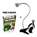 "Premium LED Grow Light – Hydroponics Greenhouse Kit for Indoor Garden Plants – Fully Adjustable & Flexible Lighting System – Strong Desk Lamp Clamp + FREE ""Caring For your Garden"" E-book"