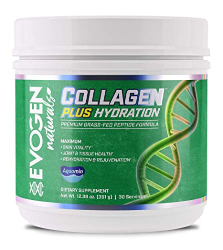 Evogen Collagen Plus Hydration | Grass Fed Type 1 & 2 Collagen, Aquamin, Vitamin C, Coconut Water Extract, MCT | 30 Servings
