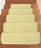 iPrint Non-Slip Carpets Stair Treads,Yellow Decor,Chevron Abstract Zig Zag Pattern Striped Cool Geometric 90s Style Art,White and Yellow,(Set of 5) 8.6''x27.5''
