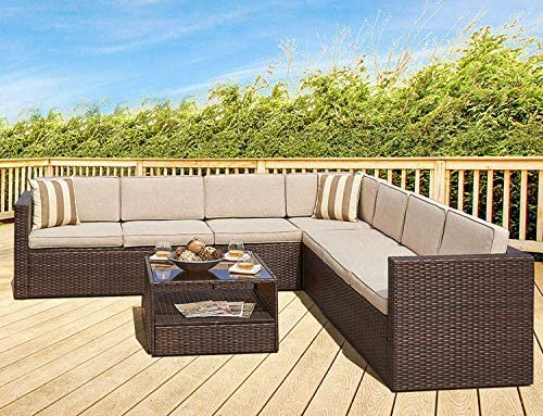 SOLAURA 6-Piece Outdoor Sectional Furniure Brown Wicker Conversation Sofa Set with Light Brown Cushion Glass Coffee Table