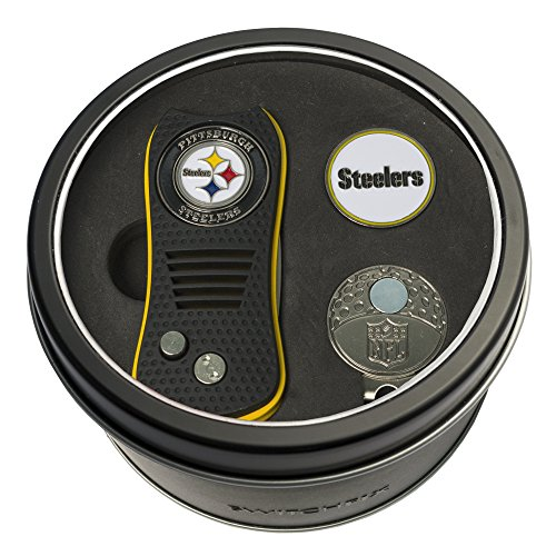 Team Golf NFL Pittsburgh Steelers Gift Set Switchfix Divot Tool, Cap Clip, & 2 Double-Sided Enamel Ball Markers, Patented Design, Less Damage to Greens, Switchblade Mechanism ()