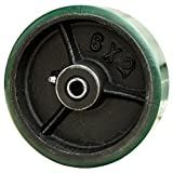 6'' x 2'' Polyurethane Wheel with Cast Iron Core for Casters or Equipment - 1200 Lbs Capacity - Roller Bearing