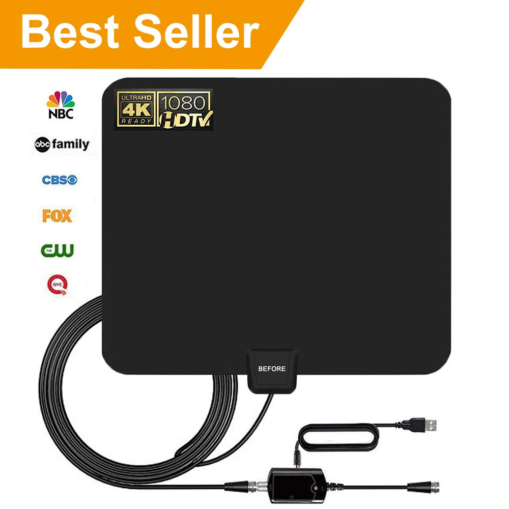 HDTV Antenna, 2019 New Indoor Digital TV Antenna 60-90 Miles Range, Amplifier Signal Booster Support 4K 1080P UHF VHF Freeview HDTV Channels-Support All Television by BEFORE (Image #1)