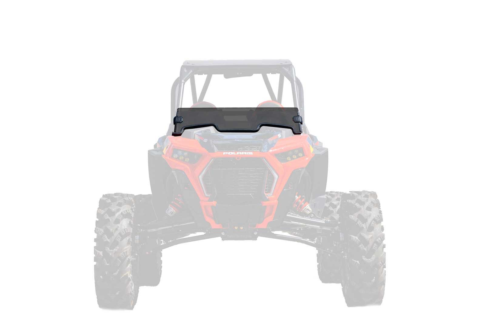 SuperATV Heavy Duty Dark Tint Non-Scratch Resistant Half Windshield for Polaris RZR XP Turbo/XP 4 Turbo (2019+) - 250X Stronger Than Glass - Installs in 5 Minutes!