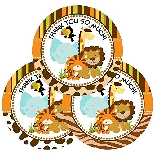 - Jungle Safari Animals Thank You Stickers for Baby Shower or Birthday Party Favors - Set of 30