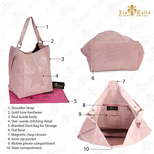 Leather Strap Hobo Suede Womens Navy Single amp; Italian Slouch SERENE Real Handbag Shoulder Hot Shopper Star LIATALIA Pink Large znYqv1zp