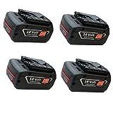 18V Bosch Li-ion Battery, SANCC™ 18V 4.0Ah Battery for Bosch BAT618 BAT618G BAT609 BAT609G BAT619 BAT619G, 4 Pack