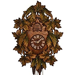 Cuckoo Clock - 1-Day Traditional with Green Painted Leaves - Schneider
