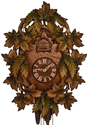Cuckoo Clock - 1-Day Traditional with Green Painted Leaves - Schneider by Schneider