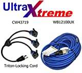 WB12100UX + CW43719 Triton-Lock Adapter UltraXtreme 100FT Hi-Flex Illuminated Extension Cord 12AWG SJEOW Blue / With Frigid Flex Technology (Cord + Triton-Lock)