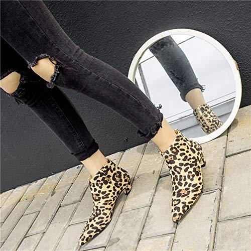 Bout Décontractées Bottes Bottines Pointu Talon Moyen Chelsea Léopard Femme Chaussures Jaune Femmes Manadlian Boots À qRxa880w