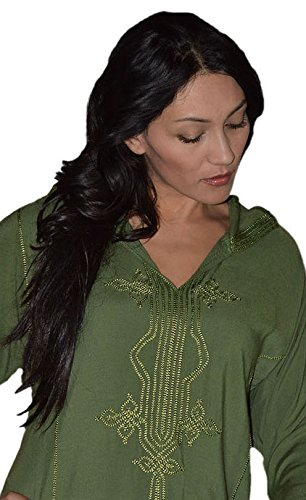Moroccan Caftans Women Hand Made Djellaba Embroidered Size Extra Large Green by Moroccan Caftans (Image #4)