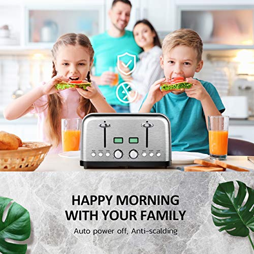 4 Slice Toaster, HOLIFE Stainless Steel Toaster [2 LCD Timer Display] Bagel Toaster (6 Bread Shade Settings, Bagel/Defrost/Reheat/Cancel Function, Wide Slots, Removable Crumb Tray, 1500W, Silver) by Holife (Image #5)