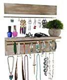 Spiretro Wall Mount Set of 2 Jewelry Organizer Holder Rack, Removable Golden Metal Bar Display Earrings Bracelets, Hooks Hang Necklaces Rings, Shelf Storage Accessories Ornaments, Rustic Torched Wood