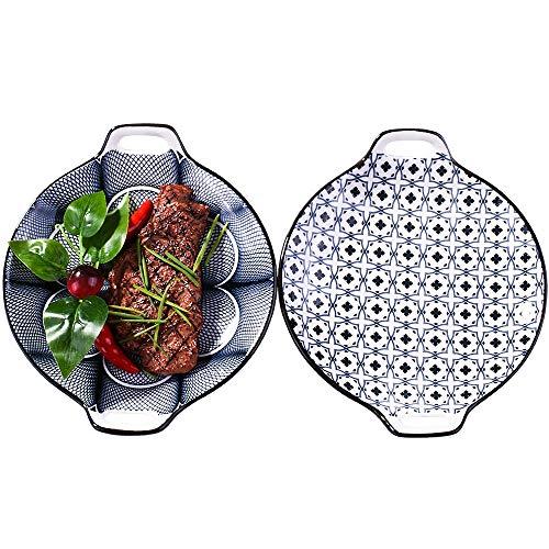 Porcelain Dinner Plates, Large Serving Plate Set, Assorted Blue White Patterns, Set of 2, Two-ears Ceramic Dinner Plates set
