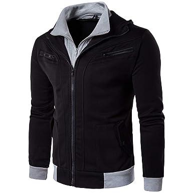 Men Male Warm Hooded Outwear Sweatshirt Pocket Thermal Fashion Sport Coat Zipper