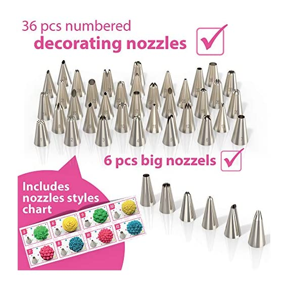Cake Decorating Kit Cupcake Decorating Kit - 68pcs Cookie Decorating Supplies and Cookie Decorating Kit with Piping Bags and Tips - Frosting Icing Tips Pastry Bags with Tips - Baking Decorating Kit 6 ✅ NEW CAKE DECORATING KIT: Looking for a fresh and stylish cake decorating kit? This icing piping set has every cake decorating tools for expert cake decoration all in one set and something new - Cake Decorating Storage Chest with piping tips Smart Holder! ✅ STYLISH CAKE DECORATING SUPPLIES: Anyone can create professional-looking cakes with these high-quality cake decorating supplies! This cupcake decorating kit includes 36 numbered stainless steel icing tips with Pattern Chart and Extra-Durable 10 pcs icing bags and 2 reusable piping bags. ✅ ICING PIPING SET FOR BEGINNERS: Our cookie decorating kit is designed   to   help   you   create   your   own   decorative   masterpieces   of   all   shapes and   sizes , no matter what your    skill   level may be.   No decorating experience needed!