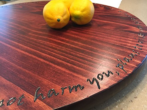 Lazy susan turntable, solid wood with hand carved letters by Java Woodworks by Java Woodworks