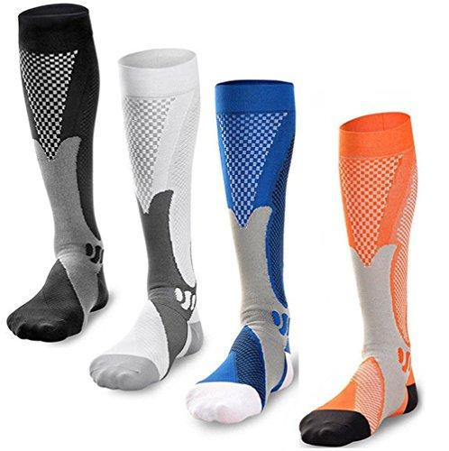 Xwanli 4 Pairs Compression Socks For Women & Men 20-30 mmHg Best Knee High Socks For Athletic, Running, Medical, Pregnancy, Crossfit, Travel, Shin Splints by Xwanli