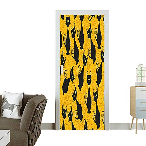 Door Sticker Wall Decals Cat Pattern Halloween Background Celebrati Graphic Patterns Black Easy to Peel and StickW23.6 x H78.7 INCH ()