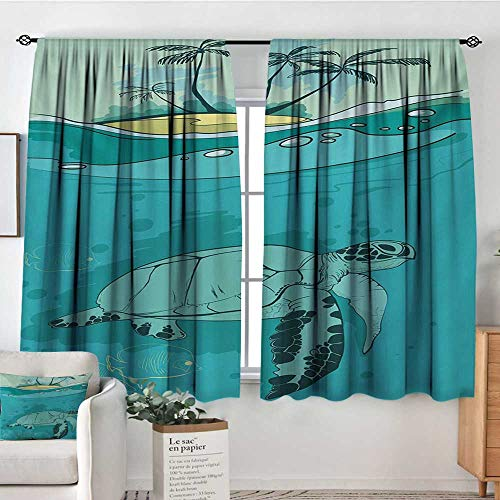 Mozenou Ocean Blackout Window Curtain Turtle Swimming Coral Reef Exotic Island Underwater Life Illustration Customized Curtains 72