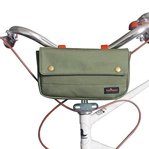 TOURBON Vintage Canvas Bike Panniers Bicycle Handlebar Bag