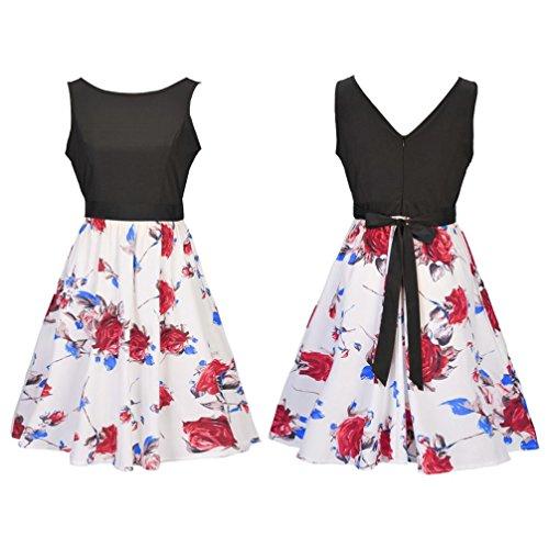 Les Années 1950 Femmes Kingko Vendange Une Ligne Coton Robe Hepburn Robe De Soirée Swing Couture Du Soir Rouge
